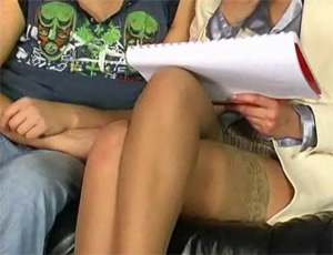 Moms Sexy Legs In Stockings Drives Boy CRAZY